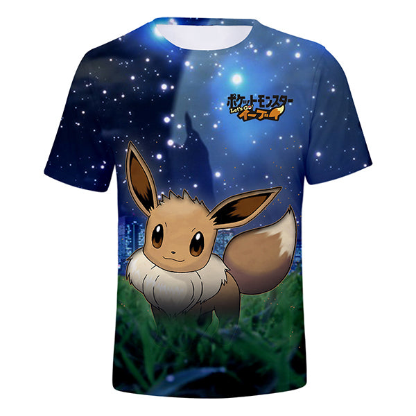 Pokemon 3D Printed Breathable Short Sleeves T-Shirt