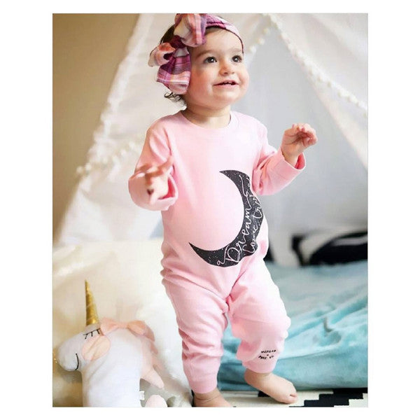 Pink Moon Print Long Sleeve Jumpsuit for Baby