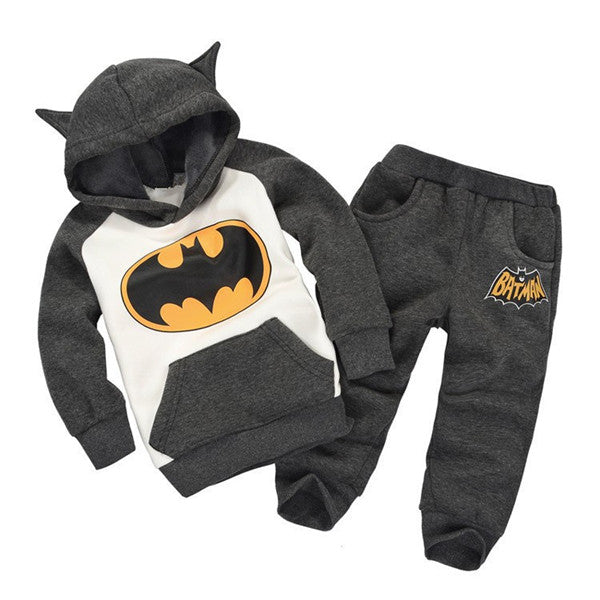 2-piece Cool Batman Print Hooded Long-sleeve Pullover and Pants for Baby and Kids