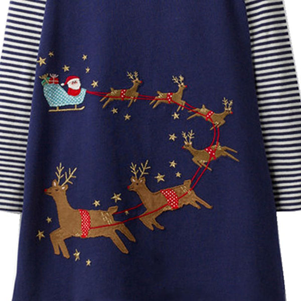 Girls Casual Christmas Elk Cartoon Animals Print Long Sleeve Cotton Dresses