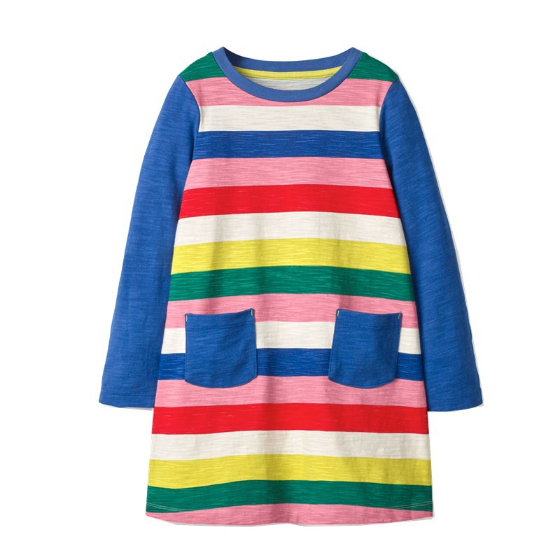 Rainbow Print Long Sleeve Dress for baby girl and girl