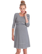 Striped Maternity & Nursing Dress