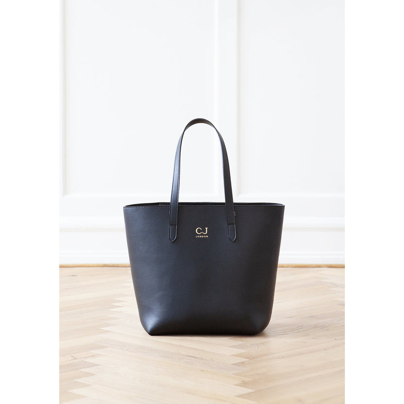 vegan leather classic tote bag in black