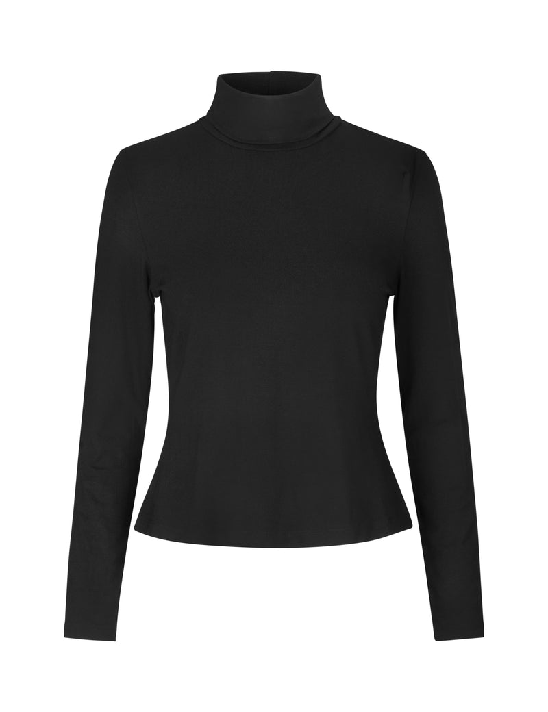 black sustainable polo neck long sleeve top