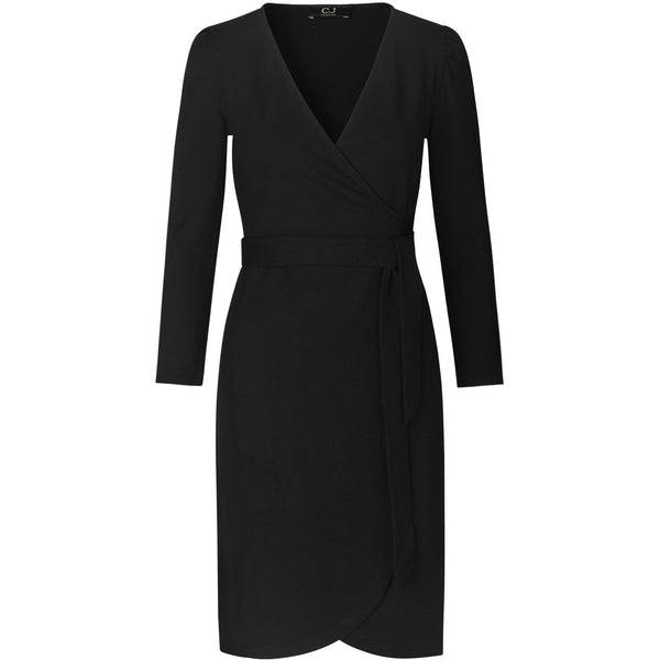 washable and seasonless black wrap dress