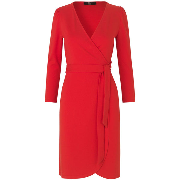 washable and seasonless red wrap dress