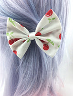 Cherry Print on White Fabric Hair Bow - Pin Up Rockabilly Hair Clip