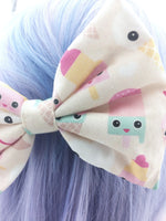 Pastel Kawaii Ice Cream Printed Large Hair Bow - Cute & Girly Hair Clip