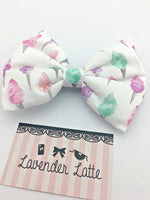 Pastel Sweet Fairy Floss Cotton Candy Printed Large Hair Bow