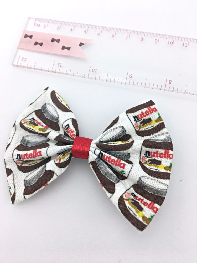 Nutella Kawaii Hair Bow Handmade Hazlenut Spread Cute Hair Clip Chocolate Lovers