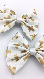 White with Metallic Gold Foil Cross Print Fabric Medium Hair Bow