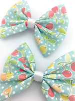 Light Blue with Cherries Print Medium Fabric Hair Bow - Vintage Inspired Pin Up