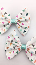 Multi-coloured Heart Print Fabric Medium Hair Bow Colourful Hair Clip
