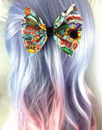 Comic Book Actions Handmade Hair Bow with Clip - Superhero Geeky Hair Accessory