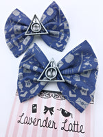 Blue Ravenclaw Harry Potter Icons Medium Fabric Hair Bow with Deathly Hallows