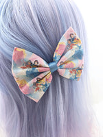 Blue Princess Print Fabric Medium Hair Bow - Fairytale Inspired Hair Clip
