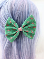 Pink Flamingo Print on Teal Fabric Hair Bow Summer Hair Clip Accessory