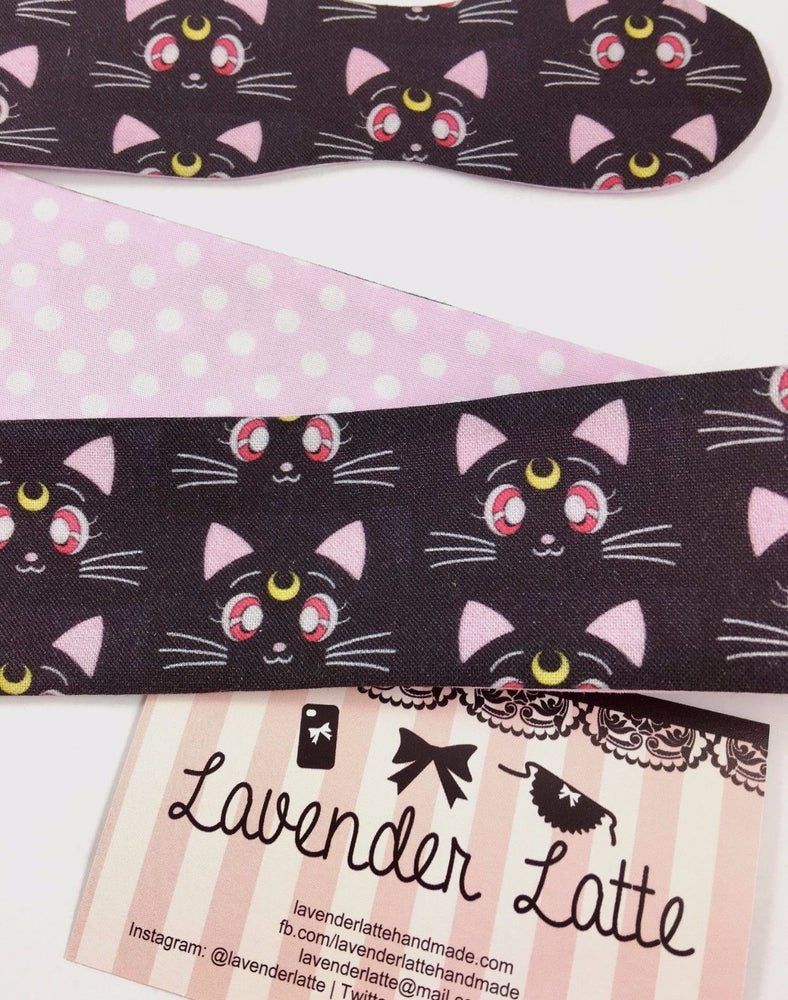 Sailor Moon Luna and Pink Polka Dot Reversible Head Tie Black Cat