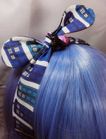 Doctor Who TARDIS Reversible Head Tie with Galaxy Print Blue Police Box