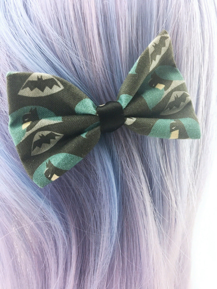 Batman The Dark Knight Small Fabric Hair Bow Superhero Geeky Hair Clip