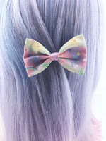 Pastel Galaxy Small Fabric Hair Bow - Pastel Fairy Kei Kawaii Hair Clip