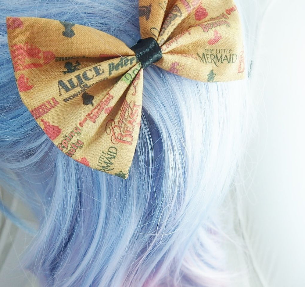 Animated Titles Vintage Look Disney Fabric Handmade Hair Bow