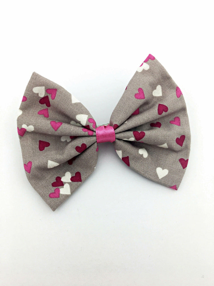 Grey with White and Pink Heart Print Medium Fabric Hair Bow with Clip - Girly