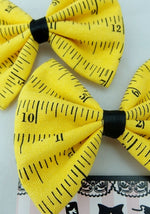 Yellow Ruler Handmade Hair Bow School Teacher Sewing Craft Hair Accessory