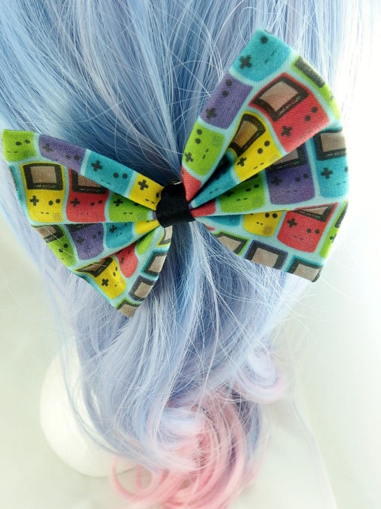 Game Boy Colour Handmade Fabric Hair Bow - Bright Gamer Girl Hair Clip