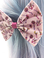 Sailor Moon Pink Fabric Hair Bow Moon Stick Kawaii Sailor Scouts Pastel Wands