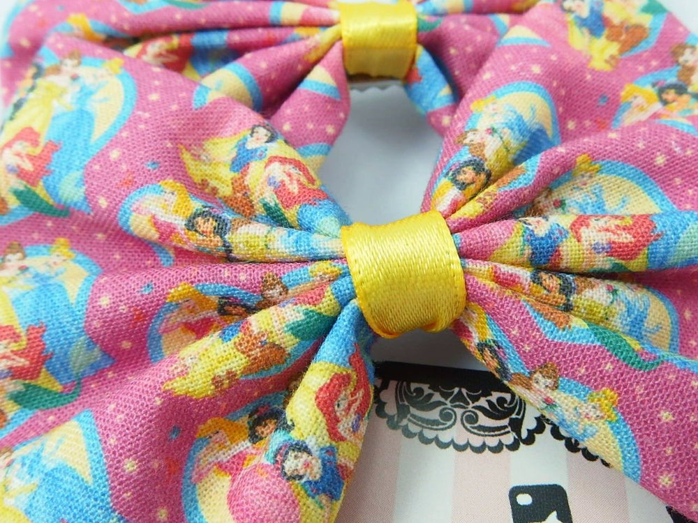 CLEARANCE! Hot Pink Princesses Handmade Fabric Hair Bow