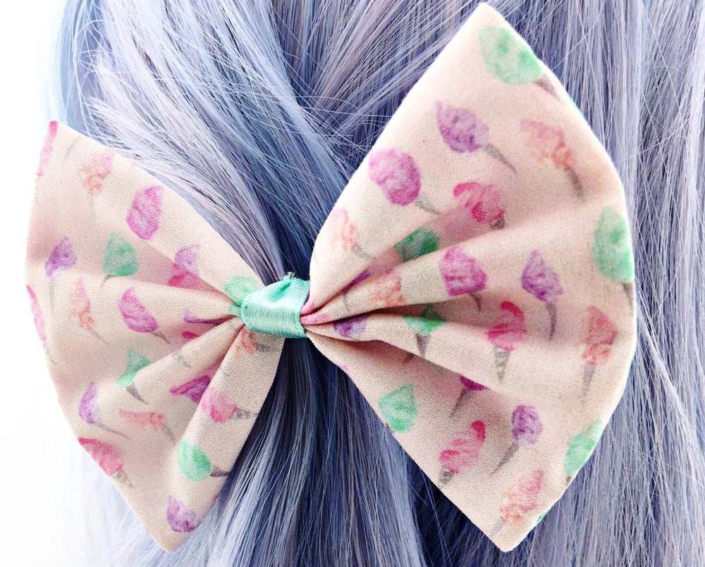 Pink with Pastel Fairy Floss/ Cotton Candy Print Medium Fabric Hair Bow