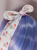 Pastel Blue and Pink Strawberry Frappe Reversible Fabric Head Tie with Pink Dots