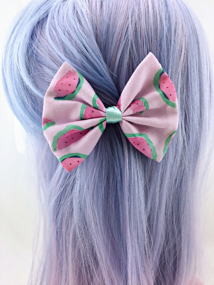 Pastel Watermelon Medium Fabric Hair Bow Watercolour Summer Hair Clip