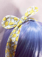 Pastel Blue Pikachu Reversible Fabric Head Tie with Pale Blue Polka Dots