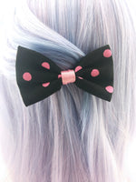 Black and Pink Polkadot Print Small Fabric Hair Bow