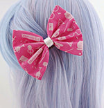 Harry Potter Icons Pink Medium Fabric Hair Bow - Deathly Hallows - Dark Mark