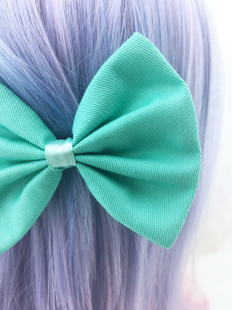 Mint Green Fabric Medium Hair Bow - Pastel Aqua Solid Colour Hair Clip