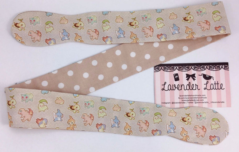 Pastel Kawaii Pokemon Beige Reversible Fabric Head Tie with Latte Polka Dots