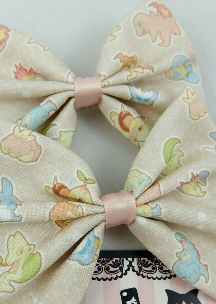 Kawaii Pastel Pokemon Handmade Fabric Hair Bow Geeky Hair Accessory