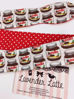 Kawaii Nutella Reversible Fabric Head Tie with Red Polka Dot Hazelnut Chocolate