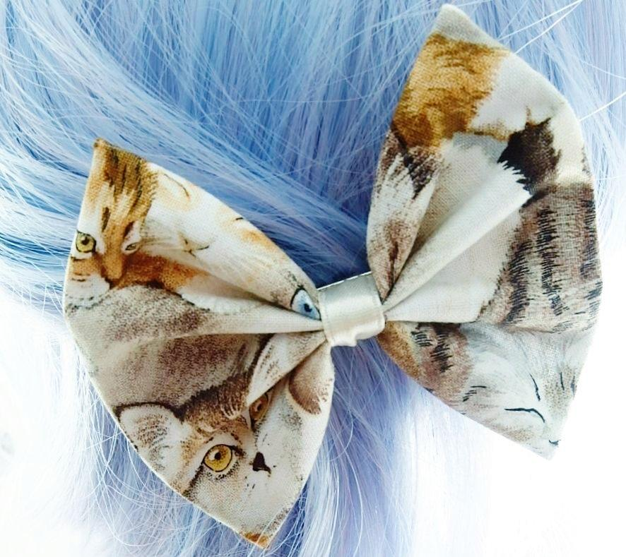Crazy Cat Lady Handmade Fabric Hair Bow Kawaii Kitten Hair Accessory