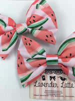 Watermelon Pink Large Hair Bow Summer Handmade Hair Accessory