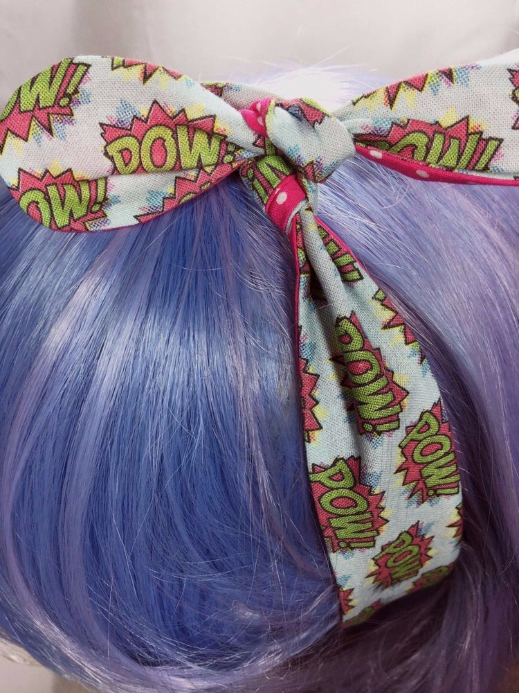 POW Comic Book Reversible Head Tie Geeky Print with Hot Pink Polka Dot Head Wrap