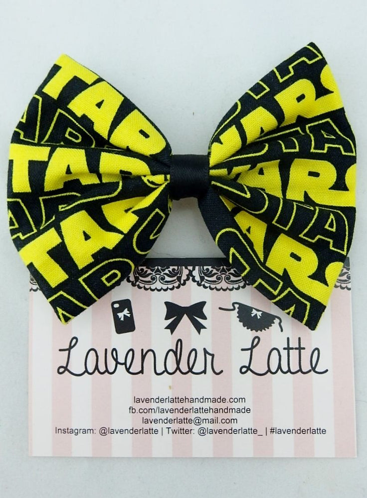 Yellow & Black Star Wars Handmade Fabric Hair Bow Intergalactic Geeky Hair Clip