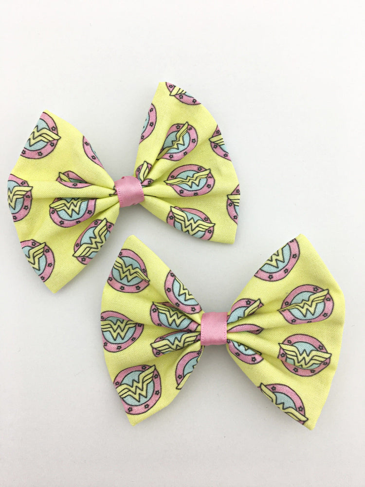 Pastel Wonder Woman Printed Fabric Medium Hair Bow - Superhero Hair Clip