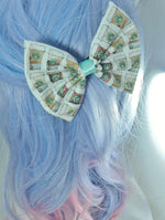 Starbucks Take Away Coffee Cup Handmade Hair Bow with Mint Ribbon Hair Clip