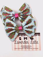 POW! Pale Blue with Hot Pink Comic Book Fabric Bow - Handmade Geeky Hair Clip
