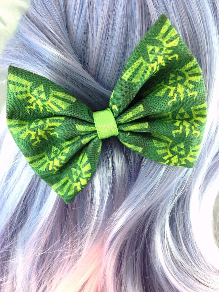 Zelda Dark Green Triforce Video Game Inspired Handmade Fabric Hair Bow
