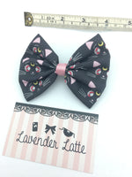 Sailor Moon Black Luna Cat Medium Fabric Hair Bow with Clip